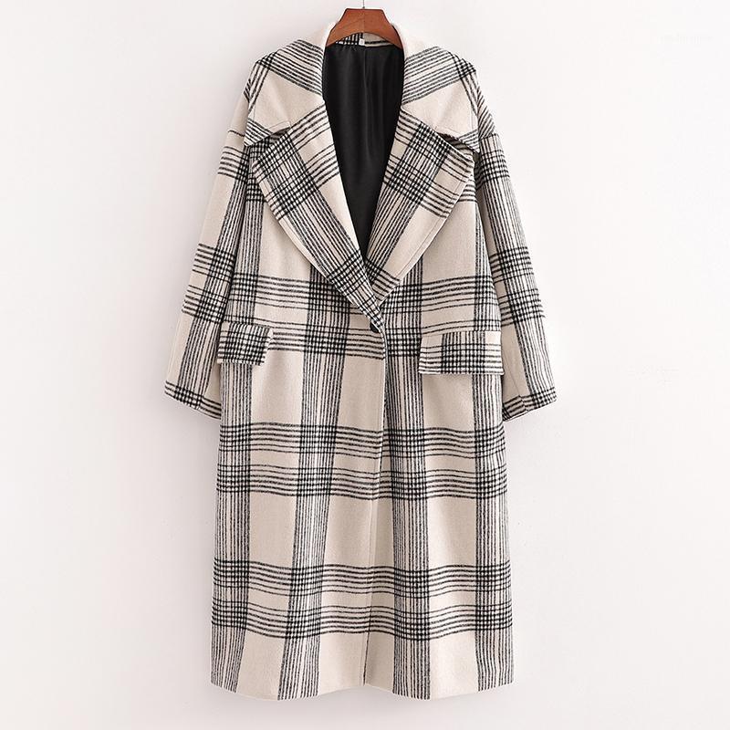 Malina Moda de manga larga Abrigos de lana de tela escocesa Mujeres elegante Girno Down Down Collar Chaquetas Mujeres Single Boton Botets Coats Ladies1