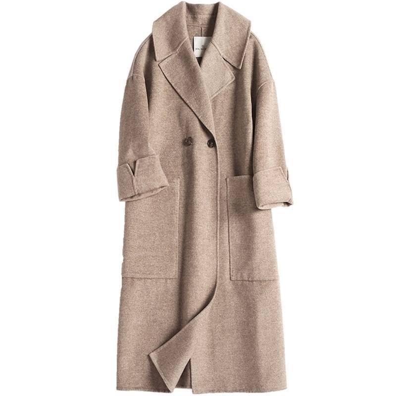 Cappotto di lana da donna in lana da donna Euro American American Color Suit Collar Bide-Lay Sided Cashmere Coat 201215