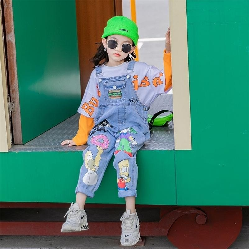 Miúdos meninas dos desenhos animados macacão 10 12 anos jeans outono moda casual adolescente meninas calças 201207