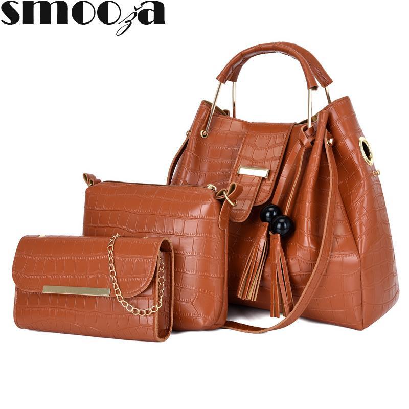 HBP Smooza Renk Çanta Bayanlar Katı PU Messenger Çanta Moda kadın 3 adet Deri NFODJ