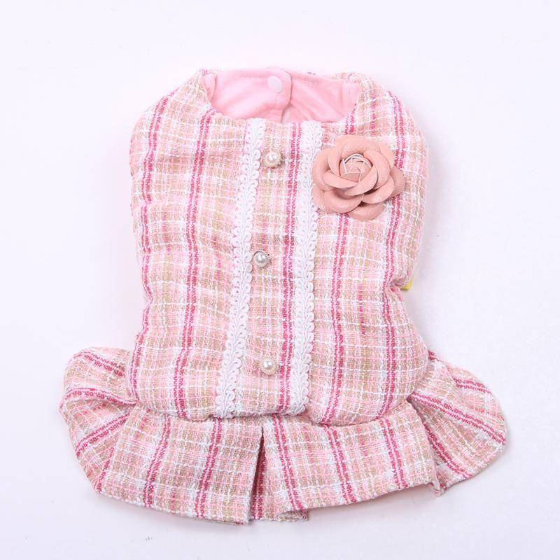الأميرة الكلب القط اللباس هوديي منقوشة روز تصميم الحيوانات الأليفة جرو تنورة الخريف / الشتاء الملابس الزي 5 أحجام 2 الألوان