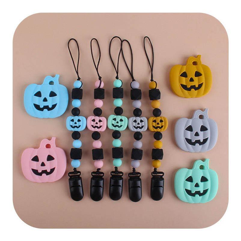 2020 nuove clip ciuccio in silicone di Halloween chain + teether del bambino 2pcs / set Cartoon clip del supporto Catene Bead Feeding perline dentizione B2727