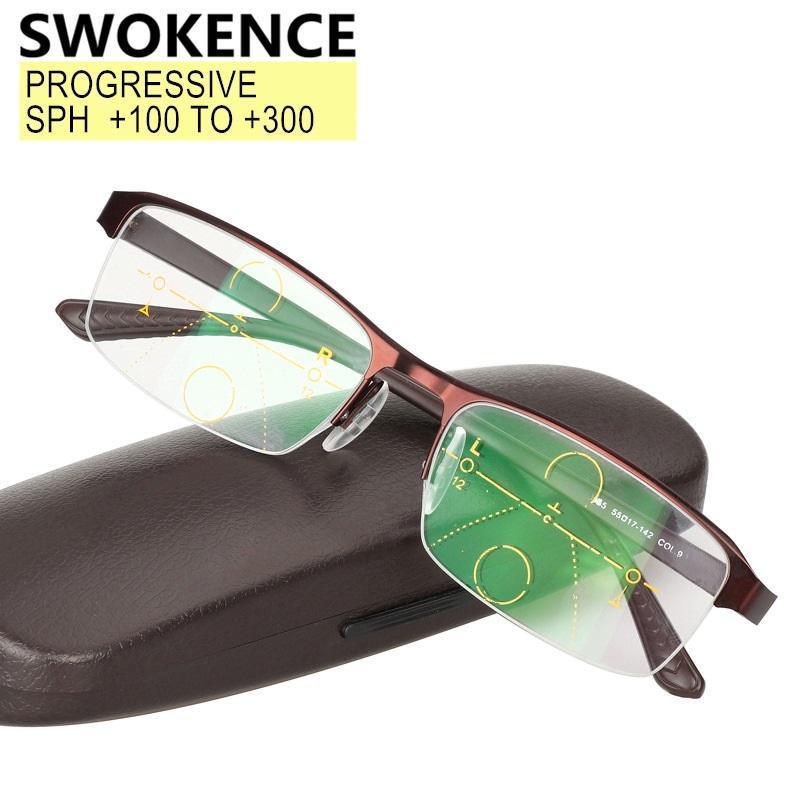 SWOKENCE Progressive R024 Brillen Grade Hohe Frauen Männer Rahmen Weitsichtigkeit Brillen für Presbyopie Halblesegläser FTCMN