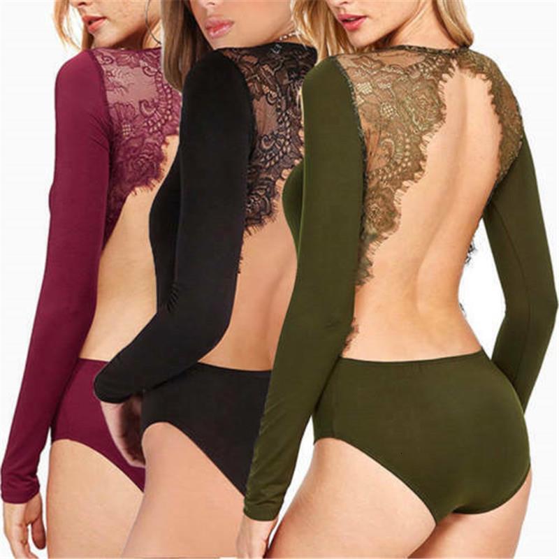 Le donne pizzo floreale Backless sexy corpo lungo manica del vestito di colore solido pagliaccetto Body Tops Drop Shipping