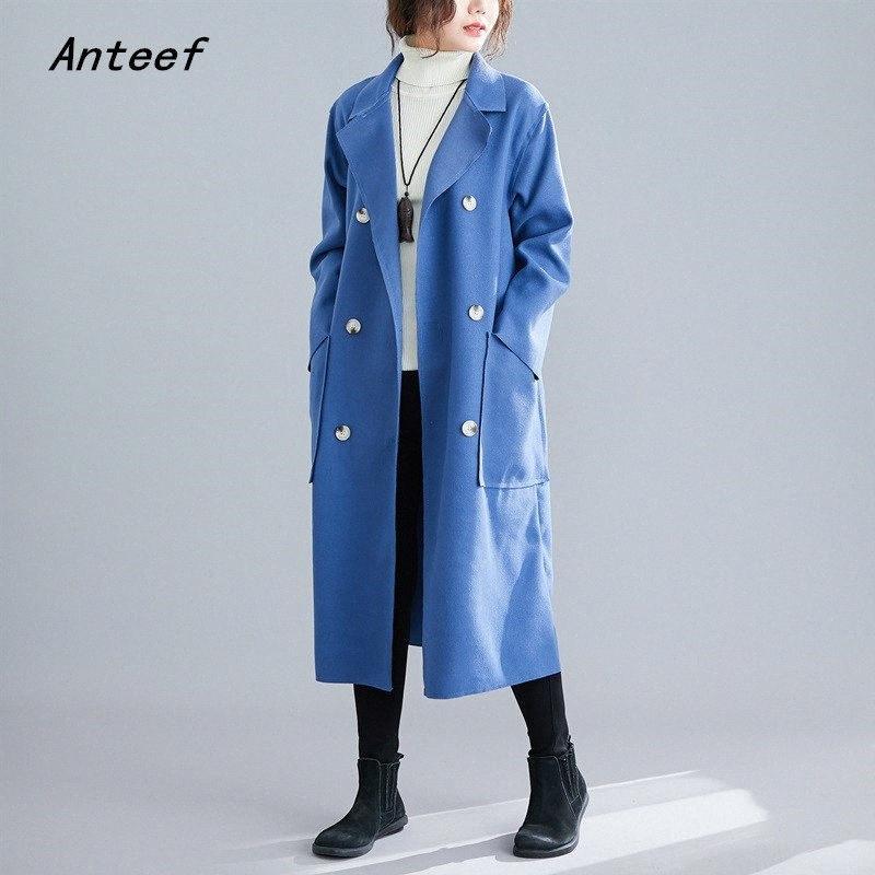 длинный рукав шерсть плюс размер случайные свободные осень зима пальто женщин 2019 одежды дамы пальто Верхняя одежда пальто b2vM #