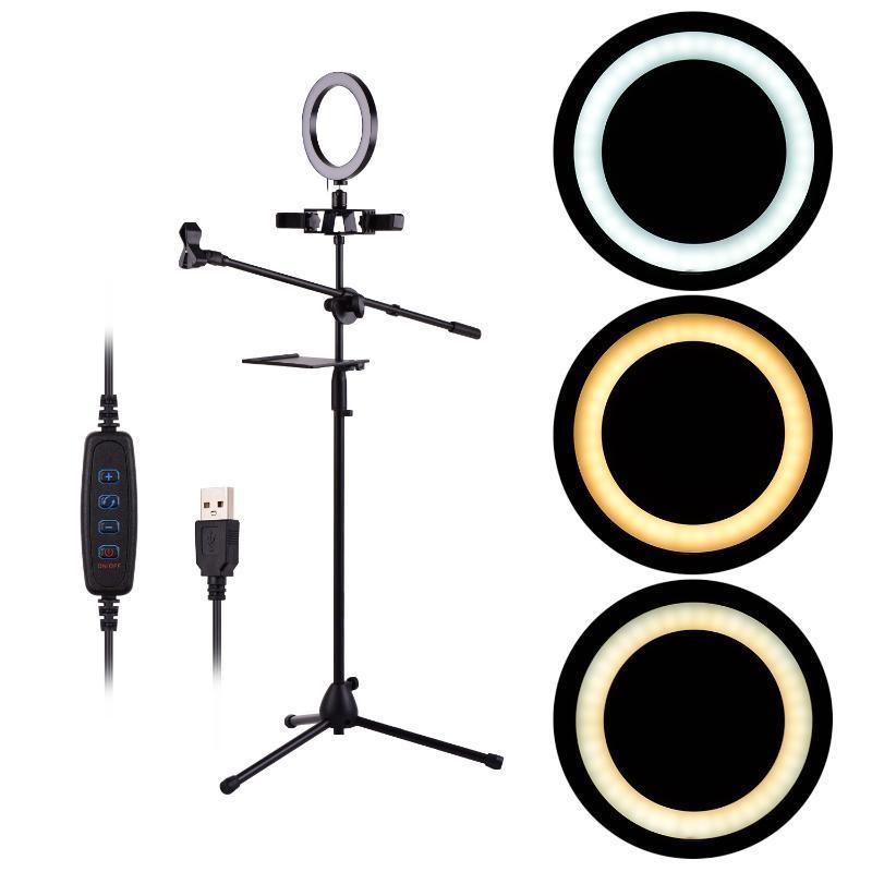 20 см / 8 дюймов LED Ring Light Kit с металлической подставкой для штатива Live Video Smartphone жить потокового онлайн Поющий Фотография лампы