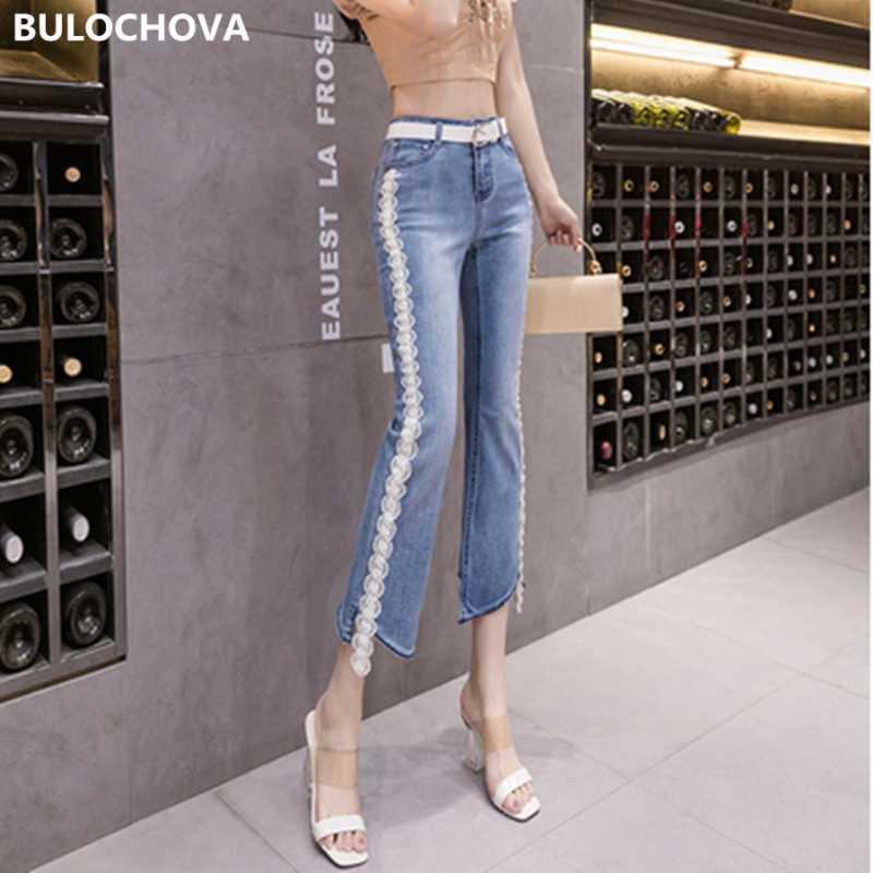 2020 Новая осень кружева Цветы Жан для женщин высокой талией большого размера джинсы Mujer мама Cowboy Denim Тощий Flare Брюки с поясом XXL