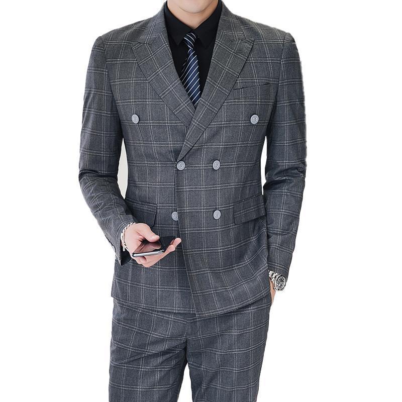 3pcs (veste + gilet + pantalon) Hommes mode costume boutique gris carrefour classique robe de mariée costume / hommes occasionnel business