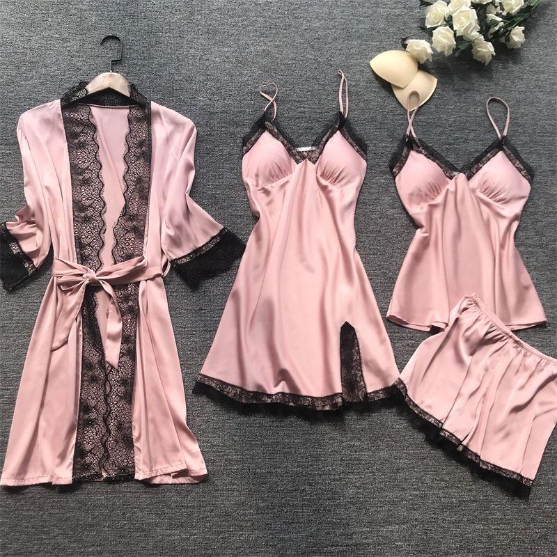 QWEEK Yaz Kadın Pijama Setleri 4 ADET Seksi Dantel Pijama Kadınlar Saten İpek Pijama Şık Pijama Göğüs Pedleri Ile Homewear Y200425