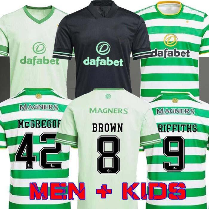 20 21 Celtic Futbol Formaları McGregor Griffiths 2020 2021 Duffy Forrest Kahverengi Christie Edouard Bayo Ev Erkekler Çocuk Futbol Gömlek