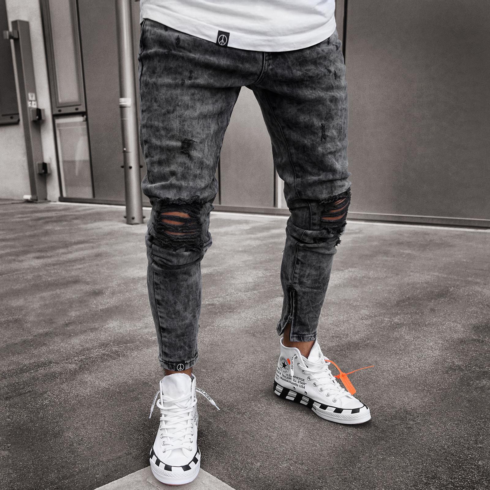 Rasca Rua Mid-cintura Calças Calças Mens Masculino Denim Lápis Alto 2020 Jeans Homem Uitte