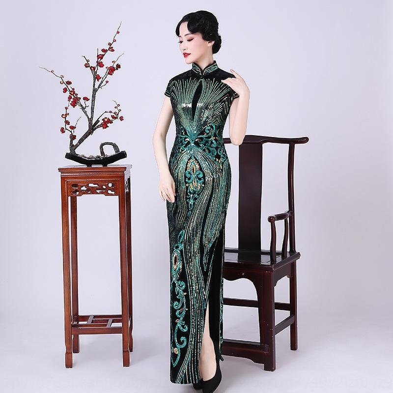20 lungo di velluto lustrini cheongsam spettacolo teatrale ospite bella temperamento stile cinese cena di partito paillettes Cheongsam annuali paillettes sequinsm
