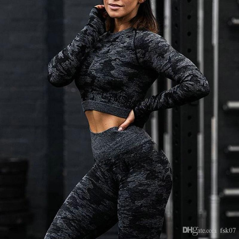 2ST Camouflage Set Frauen Yoga-Anzug Sport-Set Gym Trainings-Kleidung Long Sleeve Fitness Crop Top High Waist Seamless Camo Gamaschen