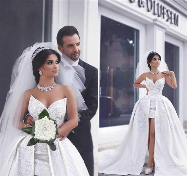 Una línea de encaje satinado dijo vestidos de novia con tren desmontable vestidos de novia saudi árabe dubai bodas cortas batas