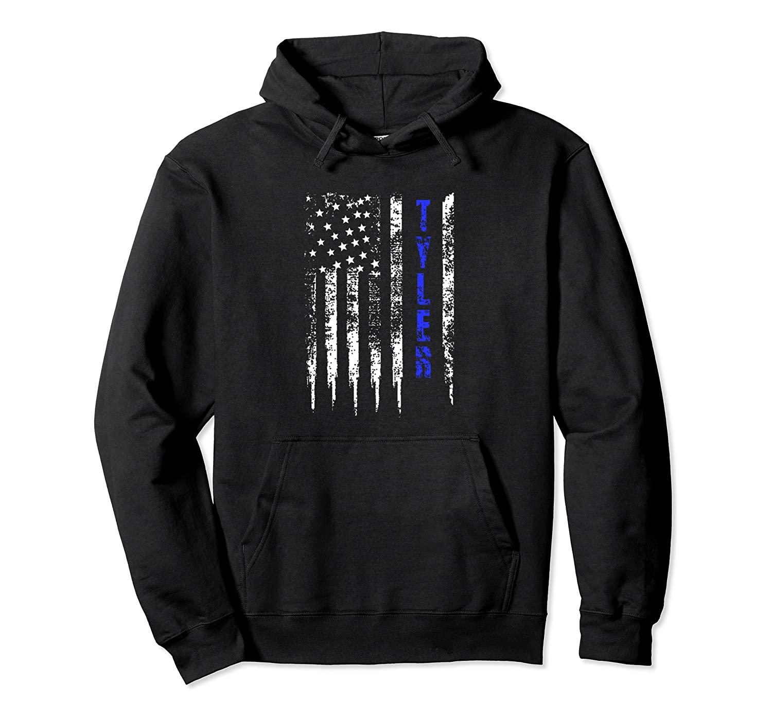 Blue Line Tyler Texas Distressed National Police Week PulloverHoodie Unisex Größe S-5XL mit Farbe Schwarz / Grau / Navy / Royal Blue / Düster Heather