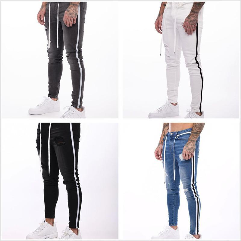 2021 Mens Jeans Fashion Hole Washed Pencil Pants Ripped Distrressed Slim Jean Multiple Styles Denim Trousers For Men
