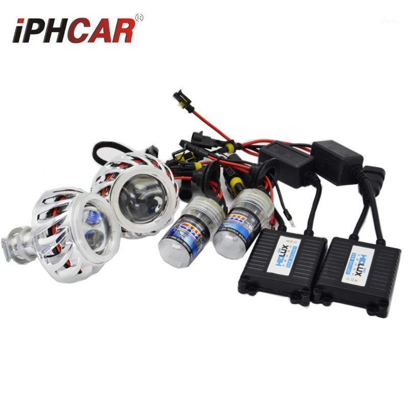 2.0 inç Mini H1 Motosiklet Projektör Lens Ile Çift LED Melek Gözler DRL Halo Yüzükler Beyaz H1 H4 H7 Güçlendirme için Kırmızı Mavi Ile Beyaz