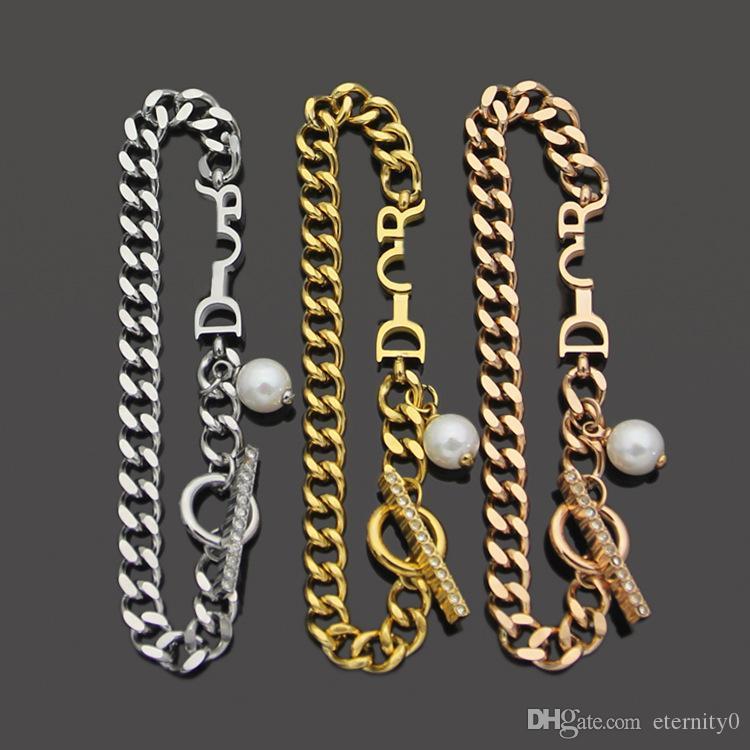 Novo aço titânio de ouro chapeado d letra mulheres pulseira de alta qualidade design pulseira de jóias adequado para presentes