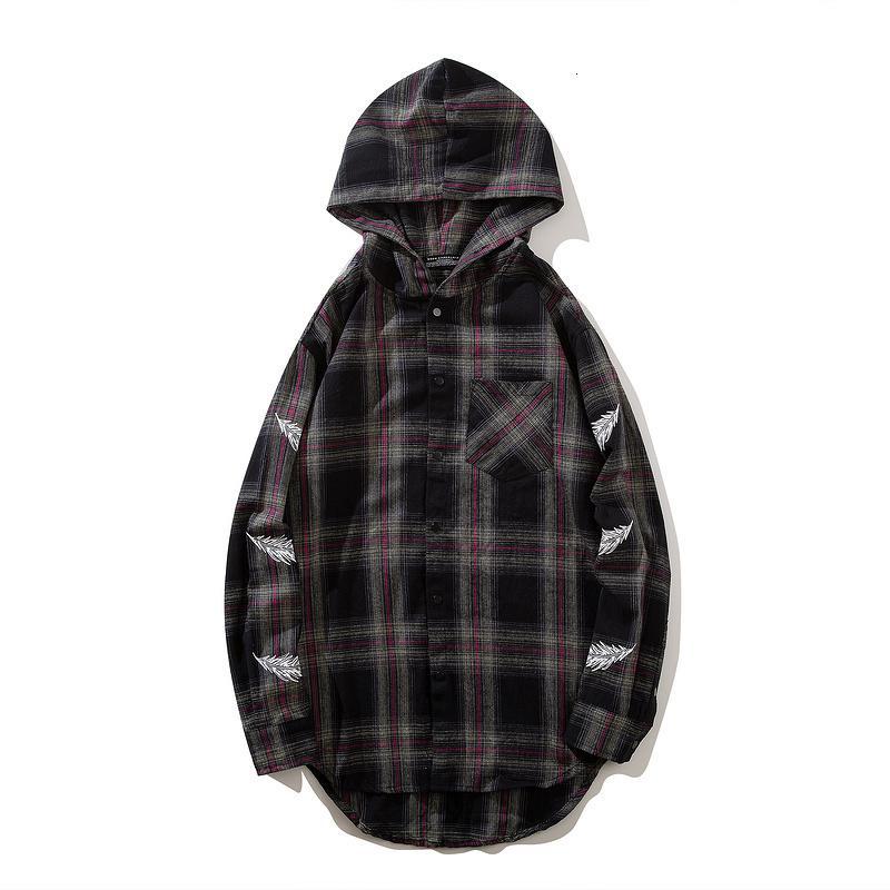 Flanelle surdimensionniste carreaux chômements hoodies print imprimer haute rue hip hop swag hommes manches longues cardigan casual chemisier lâche