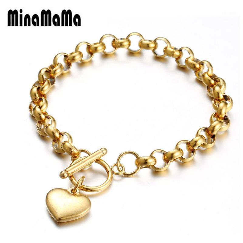 Kişilik Altın Gül Gümüş Renk Paslanmaz Çelik Rekel Zincir Geçiş Kalp Charms Bilezik Kadın Severler Için En Iyi Hediye Jewelry1