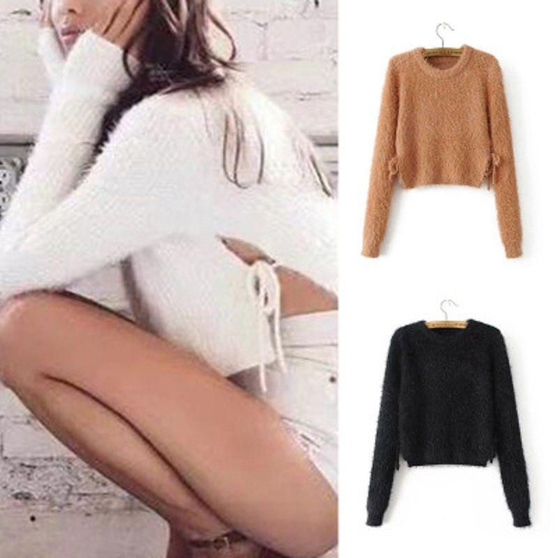 2020 papillon con maglione donne donne maglione manica lunga a maniche lunghe color peloso maglioni mohair e pullover