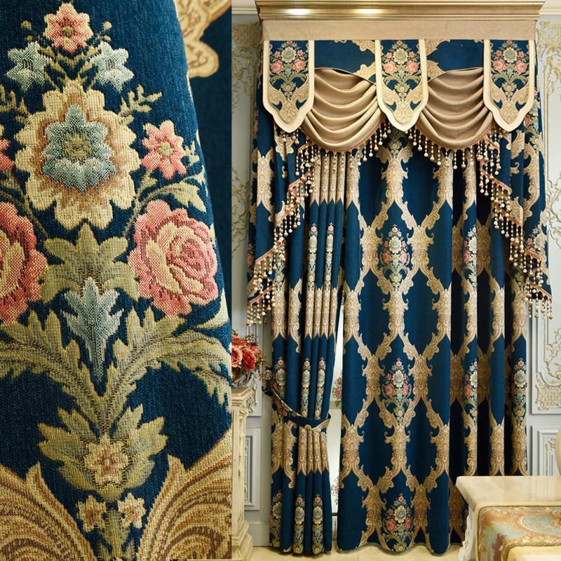Bleu péennes Rideaux de luxe pour fenêtre de nouveaux styles pour le salon Tentures élégants rideaux européenne brodé