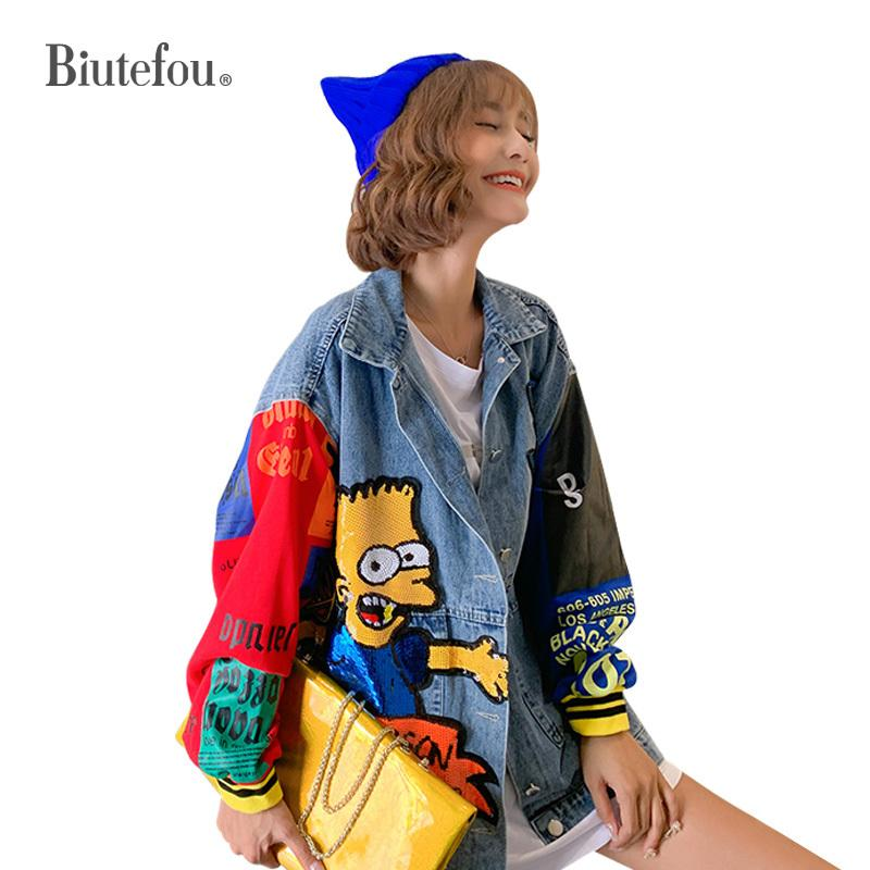 Autumn cartoon sequins designs denim jackets fashion women long jackets 201012