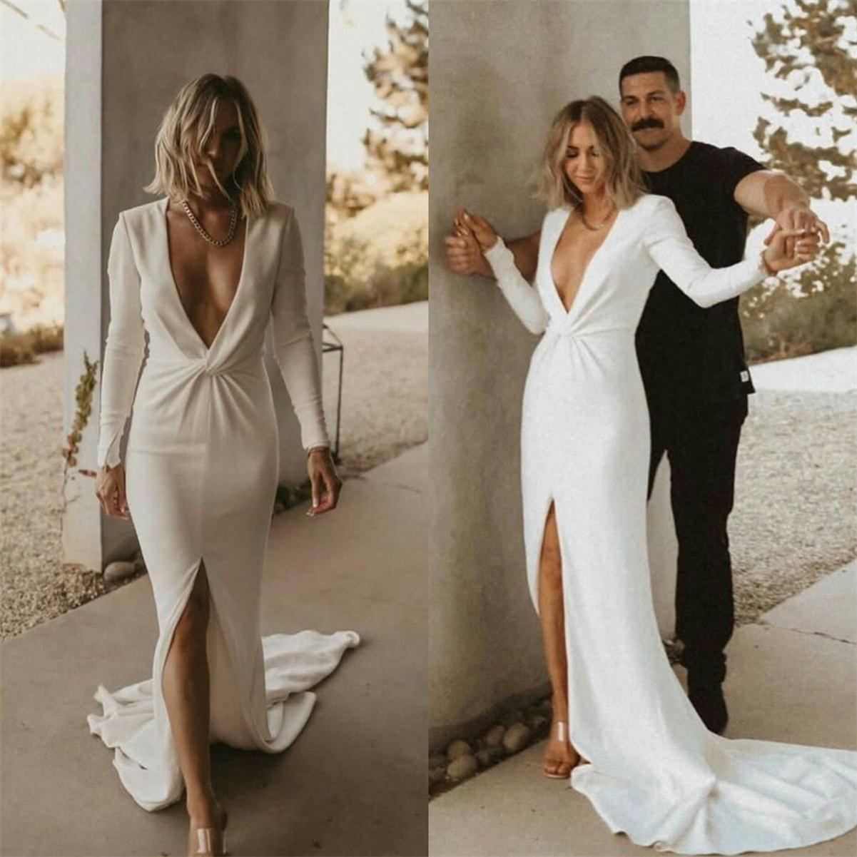 Deep V Neck Mermaid Wedding Dresses 2021 Satin Long Sleeves Front Slit Bridal Gowns Sexy Robe De Mariee