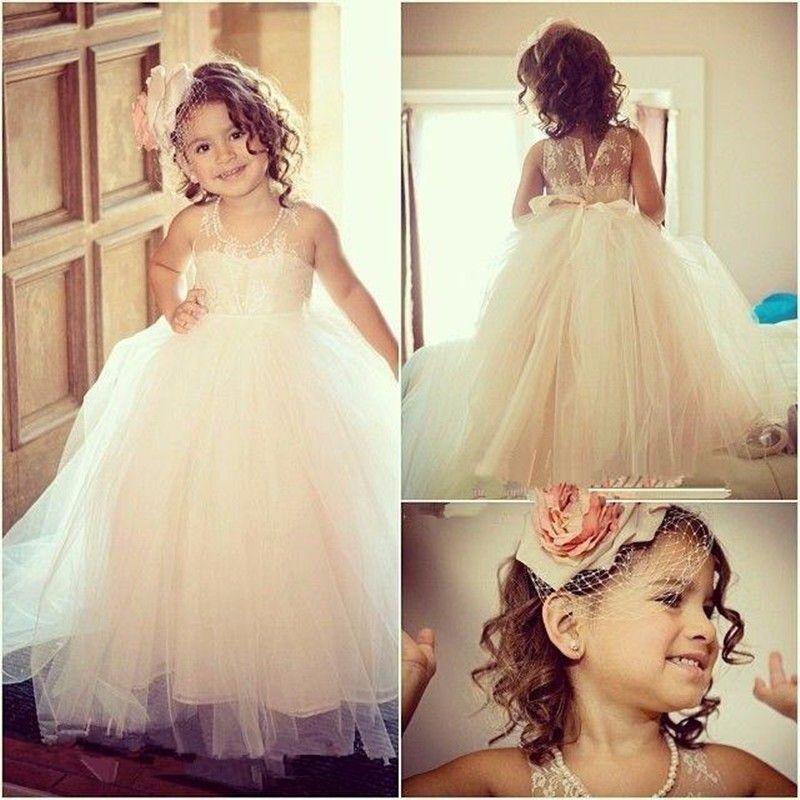 Lace Flower Girl Dresses Sheer Scoop Neck Sleeveless Floor Length Lovely Little Princess Prom Gown for Wedding Party