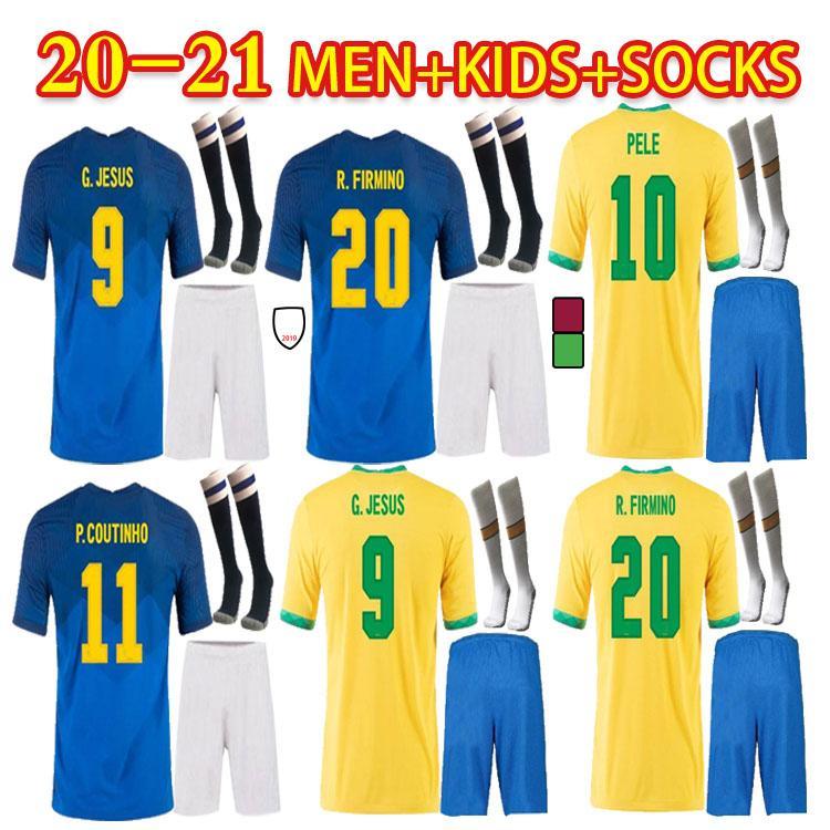 Neres G.Jesus Soccer Jersey Suit Neymar Jr Marquinhos Vinicius JR Camiseta de Futibol 2021 موحدة Coutinho كرة القدم قميص أطفال كيت