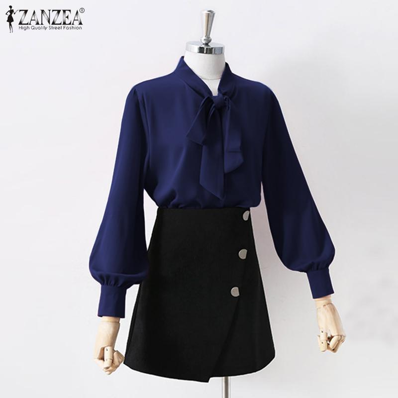 Blouse élégante blouse zanzea élégant manches longues arc de noeud papillon printemps tunique solide sommets femelle dentelle blusas fémininas blouses1