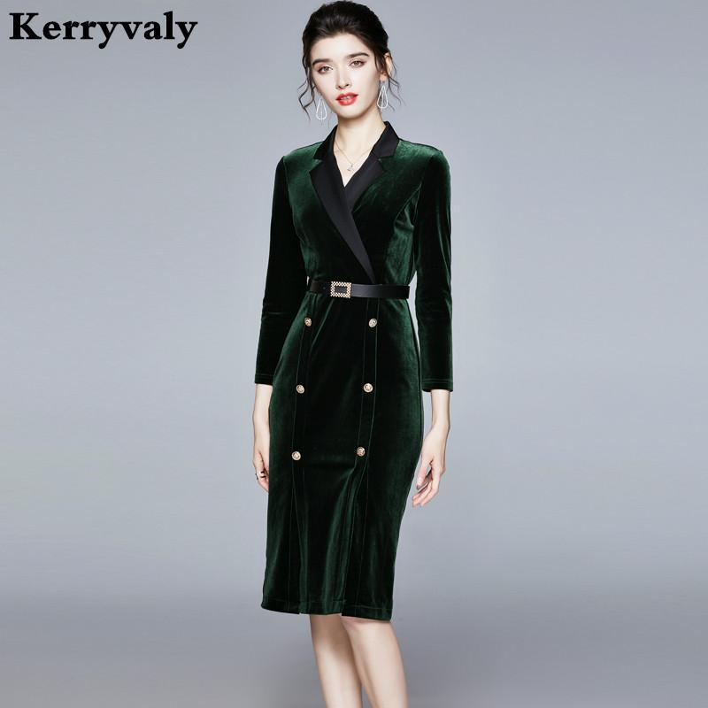 Traje de la celebridad extranjera terciopelo del oro de invierno Brazel las mujeres del vestido largo verde del partido de Bodycon de la manga vestido sukienki Ropa Mujer K8646