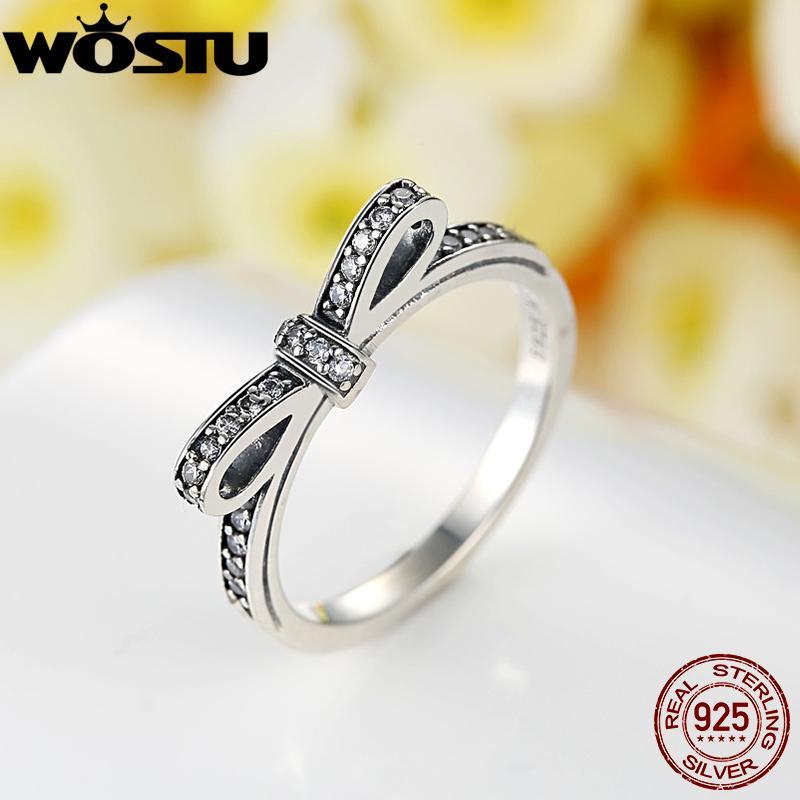 Moda Europea Auténtica 100% 925 Sterling Silver Knot Anillo de boda con joyería original de cristal XCH7104