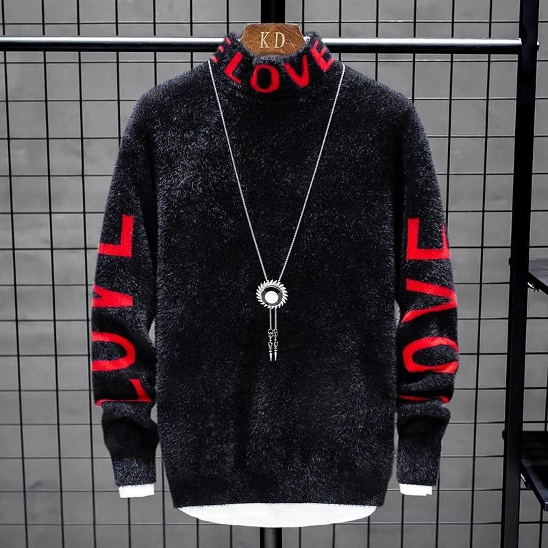 Suéter de cachemira de los hombres 2020 nuevo invierno caliente grueso para hombre de los suéteres de cuello alto de Navidad Hombre Jerseys Moda Prendas de punto homme tirón