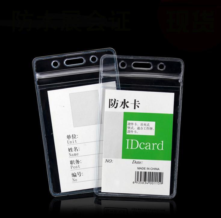 Vertical transparent 68x110mm Soft Étanche Soft Soft Badge Badge Titulaires de cartes Nom PVC Certificat en plastique Horizontal SN1019
