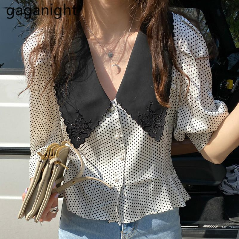Gaganight Wave Point Lady Blouse Retro Lapel Special Pearl Button Hit Color Half Puff Sleeve Tops Korean Chic Shirts Summer T200429