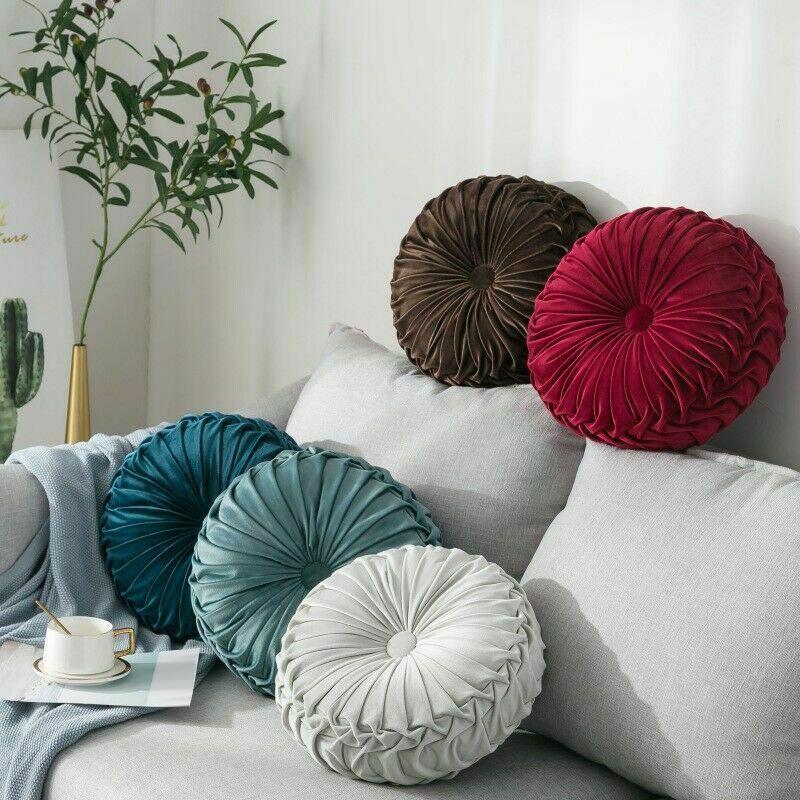 Travesseiro Redondo Redondo Luxo Veludo Abóbora PLEATED CUSHION POUF capa lance Home sofá esteira