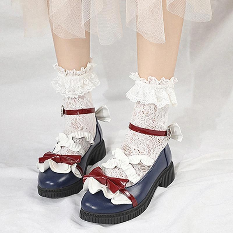 RIMOCY Sweet Bow Girl College Student Student Lolita Chaussures Mode Coeur Strap Cuir Mary Janes Femmes Vintage Vintage Rond Toile Pumps # 2J06