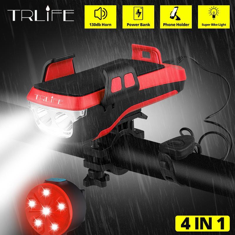 Trlife multifunción 4 en 1 Luz de bicicleta Potente Bicicleta Linterna Bicicleta Banco Banco Banco Bicicleta Frontal Luz AS TITTÓN Y200920