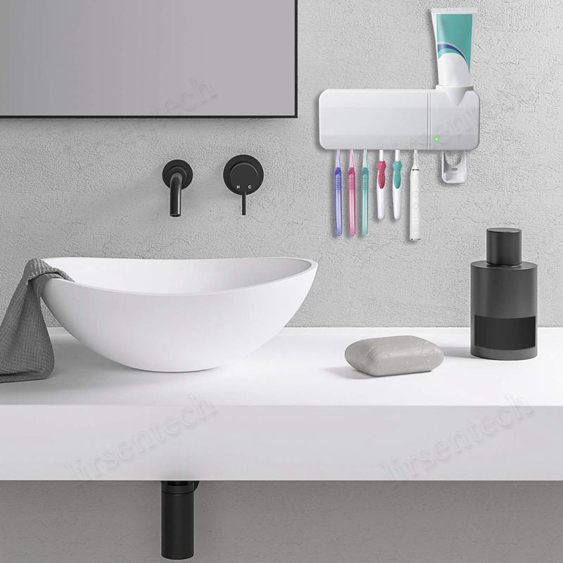 Limpe ABS escova de dentes USB Titular UV cobrando Creme dental Dispenser 6 Escova Esterilizador Titular fixado na parede com etiqueta para Home navio livre