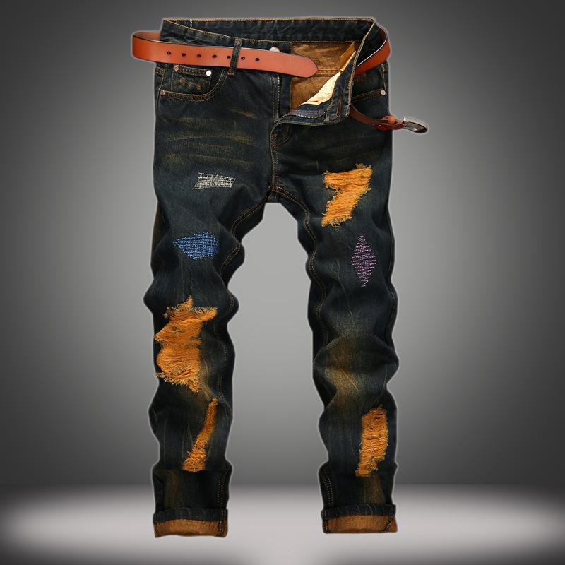 Designer-Jeans für Männer mit Löchern personalisierte Make alte gerader Hose Retro-Stilmode besticktes lässig