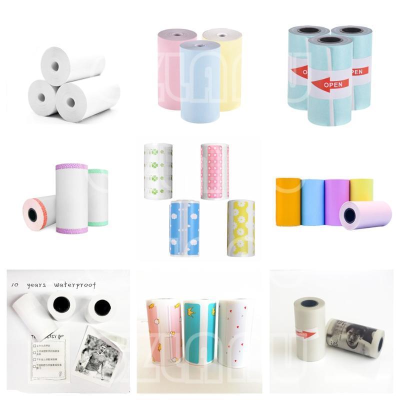 Принтеры 3 Rolls Тепловая бумага этикетки наклейки наклейки Notes Color Journal BPA бесплатно 57 мм для Peripage Paperang мобильный мини-принтер PO Impresors