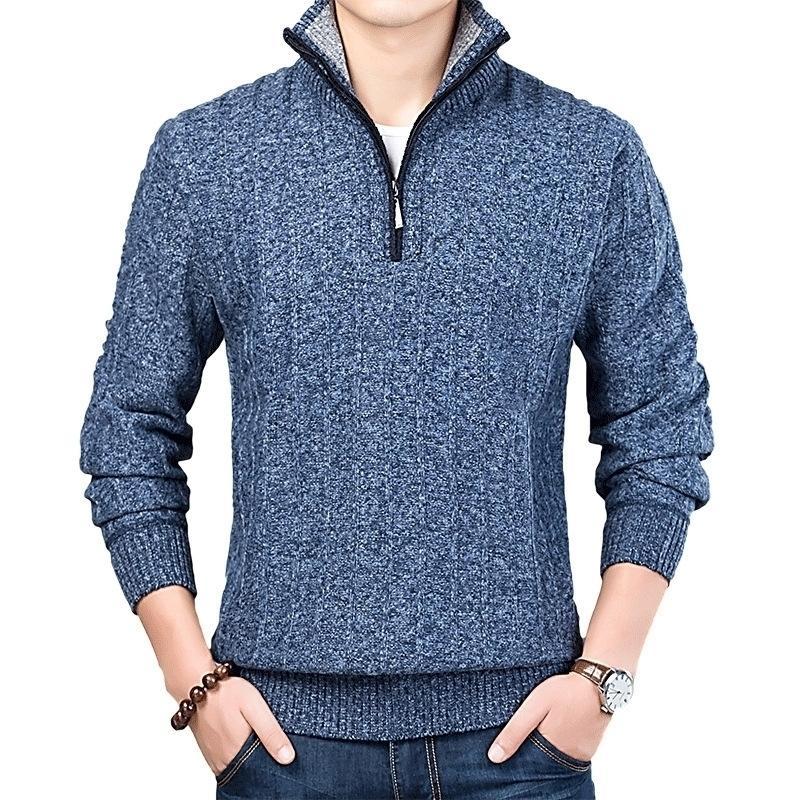 Новый зимний мужской свитер вскользь пуловер мужские теплые свитера мужчина тонкий стенд воротник вязаные пуловеры мужские пальто половины zip-свитер 201117