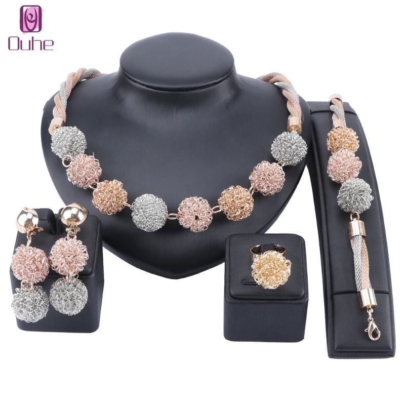 Серьги Ожерелье Мода Свадебные ювелирные Наборы для Женщин Дубай Золотой Браслет Кольцо Свадебное Обручальное Набор