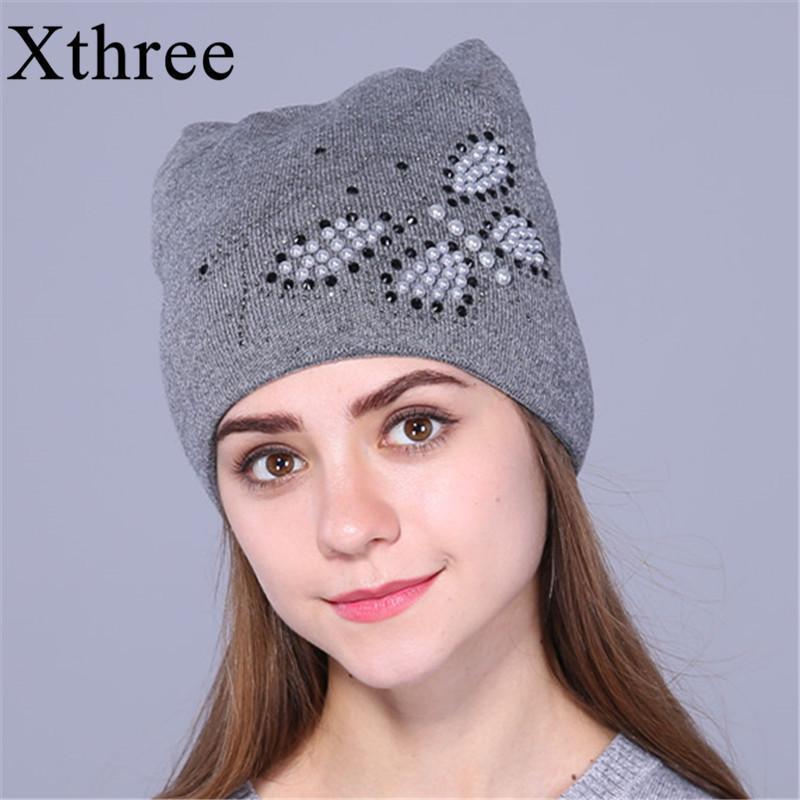 sombrero de invierno Xthree otoño para las mujeres de las gorritas tejidas de punto gato elegante sombrero del casquillo del oído de la mariposa 2020 nueva moda preciosa casquillo