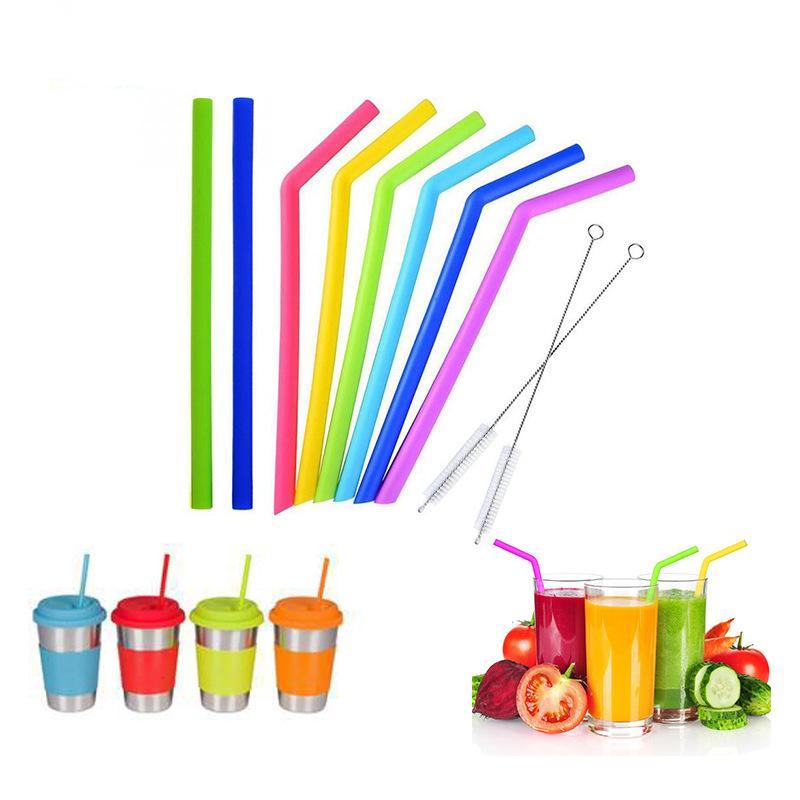 Trinkwasser-Silikonstreifen Stroh 6 Farbe Silikon Eco-Strohhalme wiederverwendbar für 800ml Becher Smoothie Flexible Sauger DH0011 123 J2