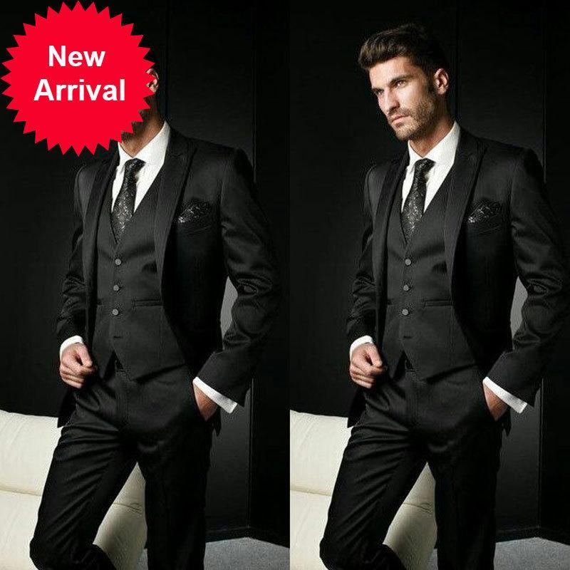 Trajes italianos para hombre negro con pantalones de negocios de esmoquin de esmoquin de esmoquin para hombre Blazer Slim Fit Terno Masculino Disfraz Homme Mariage 3Pioleqq38