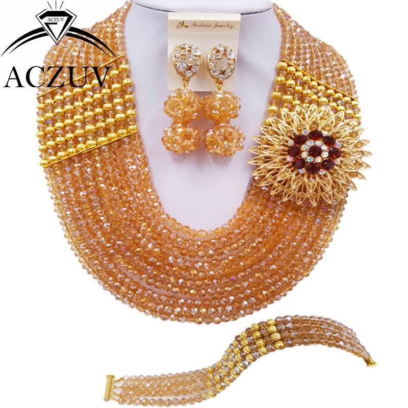 Pendientes Collar Aczuv 10 Filas Champagne Dorado Joyería africana Juego de Joyas Nigerianas Conjuntos de boda 10lbj012