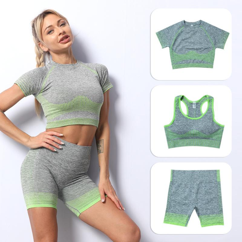 Fashion Designer Women Yoga Suit gymshark Sportwear Tracksuits Fitness Sports wear 3PCS bra Leggings outfits gym wear for woman Indoor sport