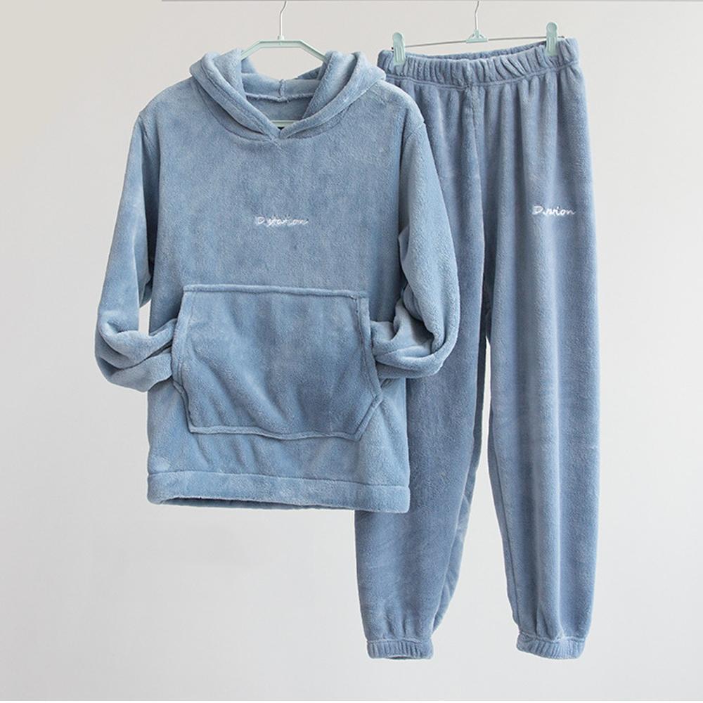 Invierno franela Conjunto de pijama para mujer paño grueso y suave pijama de dormir con el hogar Ropa Espesar Calentar desgaste Coral Velvet Mujer Noche Pijama 2020 C1115